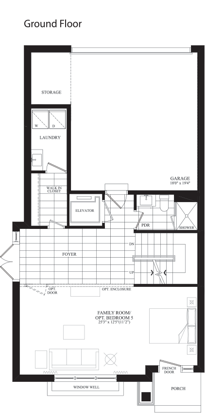 Unionville gardens floorplan type e elevator english for Elevator floor plan